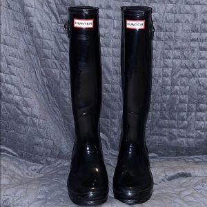 Hunter Womens Original Tall Gloss Rain Boots Black